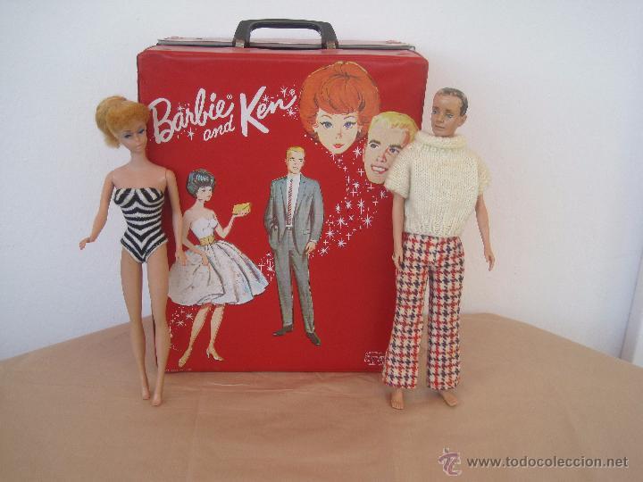 Barbie y Ken: PRECIOSA BARBIE 1958 AND KEN 1960, CON ARMARIO, VESTIDOS Y ZAPATOS. (MUY REBAJADO) - Foto 2 - 52476314