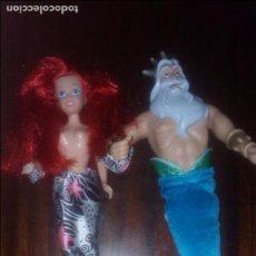 Barbie y Ken: LOTE MUÑECAS SIRENA MUÑECA BARBIE DISNEY LA SIRENITA ARIEL Y SU PADRE REY TRITON. Lote 101934435