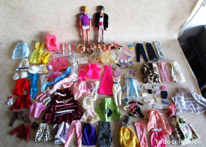 LOTE ROPA BARBIE CONGOST 42 PIEZAS MUCHOS ACCESORIOS 2 KENS 5 CABEZAS BARBIE AÑOS 60 (Juguetes - Muñeca Extranjera Moderna - Barbie y Ken)