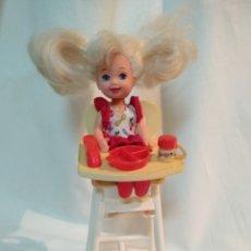 Barbie y Ken: SHELLY, NIÑA BARBIE, CON TRONA DE COMIDA. AÑOS 90. MATTEL. Lote 166209421