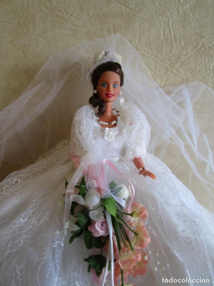 Barbie y Ken: muñeca barbie con vestido de novia y ramo mattel 1998 - Foto 3 - 29334698