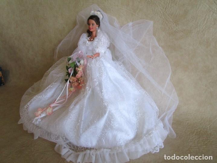 Barbie y Ken: muñeca barbie con vestido de novia y ramo mattel 1998 - Foto 13 - 29334698