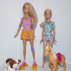 Barbie y Ken: BARBIE PATINES - PATINADORA - (DOGGIE PARK) Y VETERINARIA (CON PERRO Y CABALLO). Lote 167196244