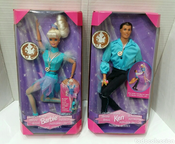 BARBIE PATINADORA ARTÍSTICA Y KEN PATINADOR. NUEVO. MATTEL.1997. GIRA Y GIRA.CAMPEÓN.REF 19165 19221 (Juguetes - Muñeca Extranjera Moderna - Barbie y Ken)