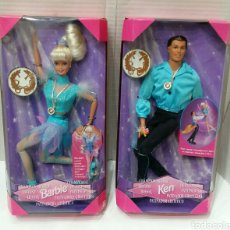 Barbie y Ken: BARBIE PATINADORA ARTÍSTICA Y KEN PATINADOR. NUEVO. MATTEL.1997. GIRA Y GIRA.CAMPEÓN.REF 19165 19221. Lote 185752340