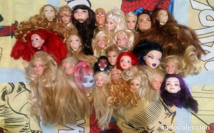 LOTE VARIADO Nº1 DE 25 CABEZAS CON DEFECTOS DE BARBIE, KEN, MONSTER HIGH, EVER AFTER HIGH, DISNEY (Juguetes - Muñeca Extranjera Moderna - Barbie y Ken)