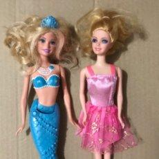 Barbie y Ken: LOTE 2 MUÑECAS + BUSTO - SIRENA AZUL Y VESTIDO ROSA TIPO BARBIE. Lote 235606835