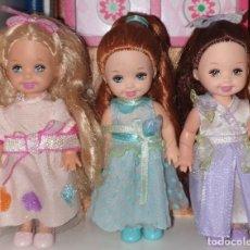 Barbie e Ken: 3 MUÑECAS SHELLY/KELLY BARBIE RAPUNZEL MATTEL RAPUNZEL'S WEDDING. Lote 243196240