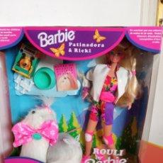 Barbie e Ken: BARBIE PATINADORA Y SU PERRITO RICKI.MATTEL 1994.NUEVA EN CAJA SIN ABRIR.. Lote 287818113