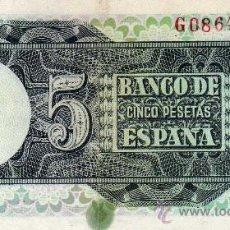 Billetes con errores: +++ ERROR +++ 5 PTS....1948.........NUMERACION CASI SIN GRABAR. Lote 11117240