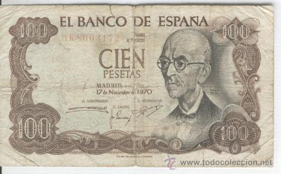 Billetes con errores: BANCO DE ESPAÑA 100 PESETAS 17-11-1970 MANUEL DE FALLA REVERSO EN VERDE BILLETE RARO ERROR - Foto 2 - 27440708