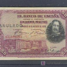 Billetes con errores: RARO BILLETE ANULADO 50 PTS 1928 SERIE C MBC+. Lote 17813434