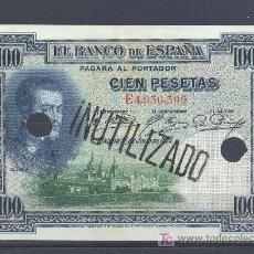 Billetes con errores: RARO BILLETE INUTILIZADO Y TROQUELADO100 PTS 1925 EBC -. Lote 17813597