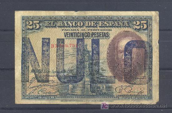 Billetes con errores: RARISIMO BILLETE NULO NUNCA VISTO 25 PTS 1928 - Foto 1 - 17813711