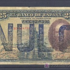 Billetes con errores: RARISIMO BILLETE NULO NUNCA VISTO 25 PTS 1928. Lote 17813711