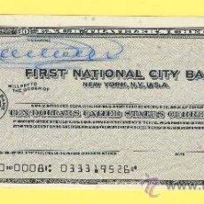 Billetes con errores: BILLETE HUMOR PUBLICIDAD -CHEQUE DE VIAJE 1962 FRIST NATIONAL CIT-PLANCHA- VER ESTADO FOTO ADJUNTA-. Lote 25922188
