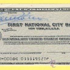 Billetes con errores: BILLETE HUMOR PUBLICIDAD -CHEQUE DE VIAJE 1962 FRIST NATIONAL CIT-PLANCHA- VER ESTADO FOTO ADJUNTA-. Lote 25922208