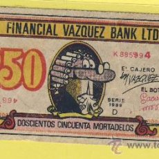 Billetes con errores: BILLETE HUMOR PUBLICIDAD -250 MORTADELOS FINANCIAL VAZQUEZ 1959-PLANCHA- VER ESTADO FOTO ADJUNTA-. Lote 25922256