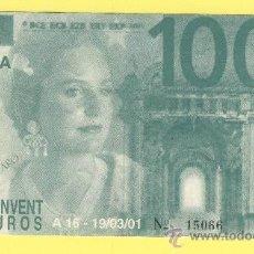 Billetes con errores: BILLETE HUMOR PUBLICIDAD -FALLAS 2001 CONVENTO JERUSALEN 100 CONVENT EUR -VER ESTADO FOTO ADJUNTA . Lote 25923637