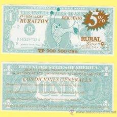 Billetes con errores: BILLETE HUMOR PUBLICIDAD -RURALTON -RURAL TOUR 1988. -VER ESTADO FOTO ADJUNTA . Lote 25925283