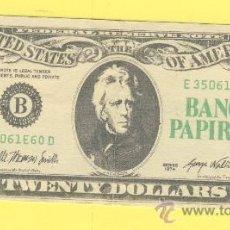 Billetes con errores: BILLETE HUMOR PUBLICIDAD -BANCO PAPIROTS 20 &-. -VER ESTADO FOTO ADJUNTA . Lote 25927906