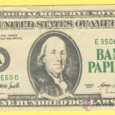 Billetes con errores: BILLETE HUMOR PUBLICIDAD -BANCO PAPIROTS 100 &-. -VER ESTADO FOTO ADJUNTA . Lote 25927955