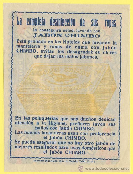 Billetes con errores: Billete humor publicidad -mil pesetas jabon chimbo-1940 ?- ver estado foto adjunta- - Foto 2 - 25922954