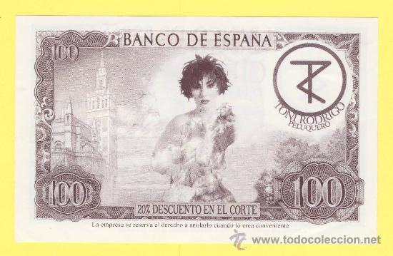 Billetes con errores: Billete humor publicidad -Toni rodrigo peluquero 100-ver estado foto adjunta -plancha - Foto 2 - 25928556