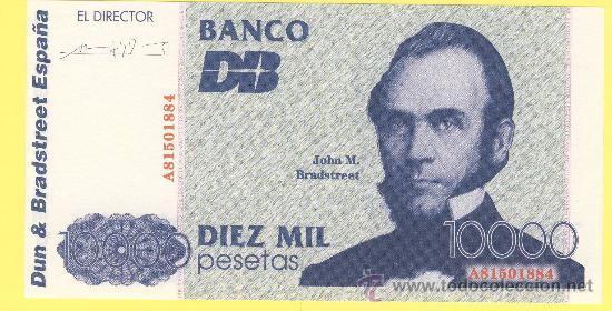 Billetes con errores: Billete humor publicidad - dun & brastreeet españa diez mil pesetas numerado - foto adjunta - - Foto 3 - 25929136