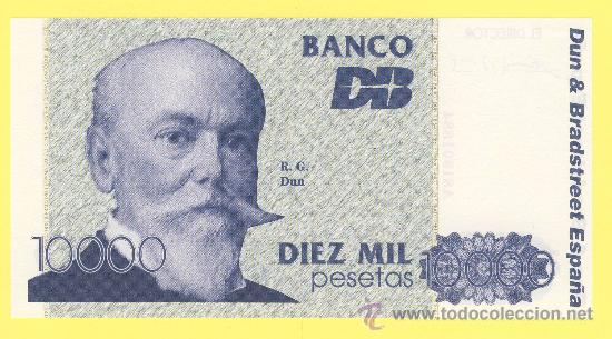 Billetes con errores: Billete humor publicidad - dun & brastreeet españa diez mil pesetas numerado - foto adjunta - - Foto 2 - 25929136