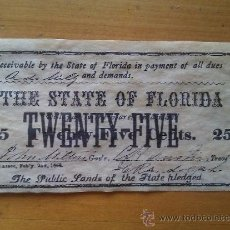 Billetes con errores: BILLETE FLORIDA. 25 CÉNTIMOS. 1863. CONFEDERACIÓN. ESTADOS CONFEDERADOS DE AMÉRICA