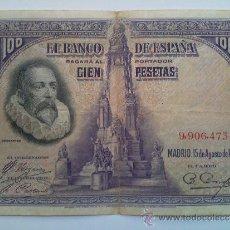 Billetes con errores: 100 PESETAS DE 1928 NÚMERO ALTO . Lote 33496555