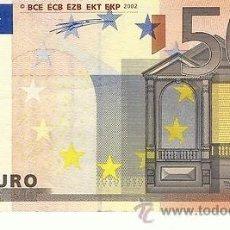 Billetes con errores: BILLETE DE 50 EUROS SIN HOLOGRAMA. Lote 35490275