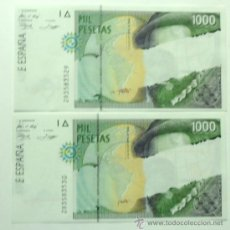 Billetes con errores: BILLETE ERROR * 2 BILLETES 1000 PESETAS CORRELATIVOS 1992 FRANCISCO PIZARRO, ERROR DE IMPRESION. Lote 36642864