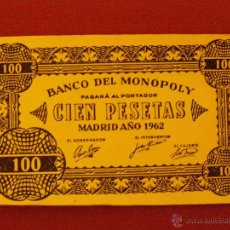 Billetes con errores: BILLETE MONOPOLY - 100 PESETAS - MADRID AÑO 1962 -. Lote 40392555