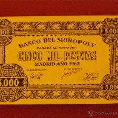 Billetes con errores: BILLETE BANCO DEL MONOPOLY - CINCO MIL PESETAS - MADRID AÑO 1962 - 5.000. Lote 40392563