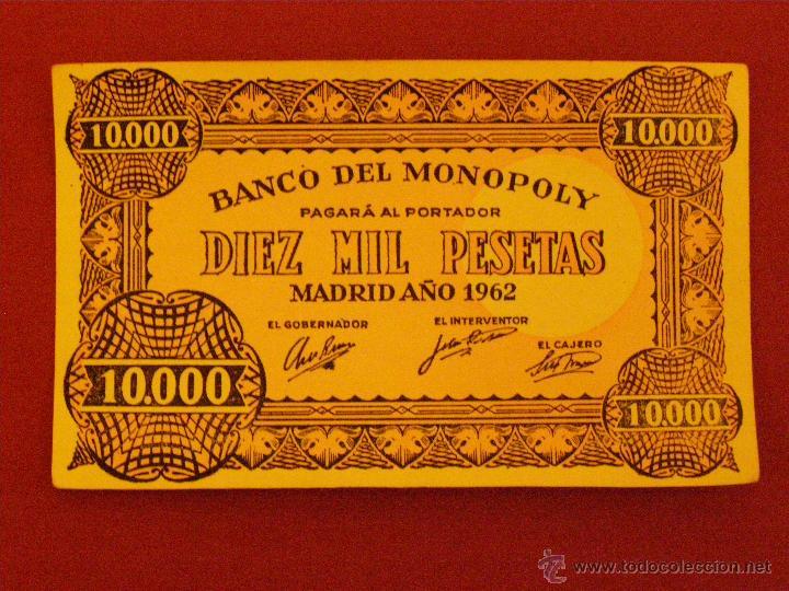 BILLETE BANCO DEL MONOPOLY - 10.000 PESETAS - MADRID AÑO 1962 - (Numismática - Notafilia - Variedades y Errores)