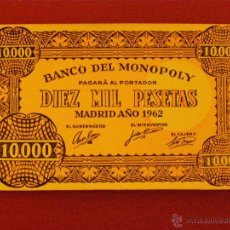 Billetes con errores: BILLETE BANCO DEL MONOPOLY - 10.000 PESETAS - MADRID AÑO 1962 -. Lote 40392565