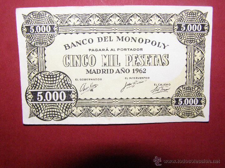 Billetes con errores: Billete Banco del Monopoly - Cinco Mil Pesetas - Madrid Año 1962 - 5.000 - Foto 3 - 40392563
