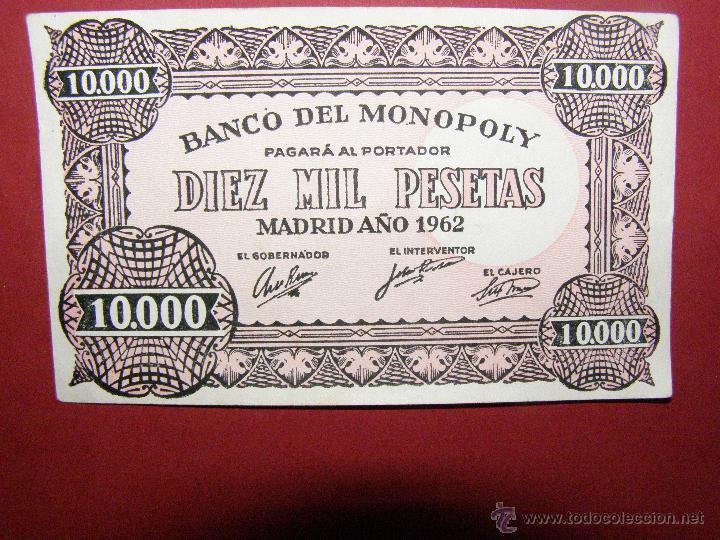 Billetes con errores: Billete Banco del Monopoly - 10.000 Pesetas - Madrid Año 1962 - - Foto 3 - 40392565
