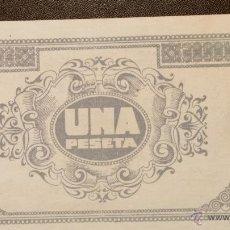 Billetes con errores: EXTREMADAMENTE RARO PRUEBA COLOR / ERROR UNA PESETA CONSEJO MUNICIPAL DE CASPE 1937 S/C. Lote 41752205