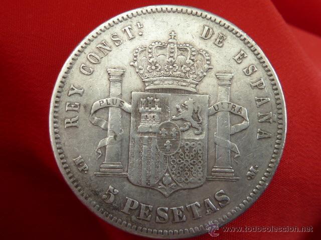 Billetes con errores: Variante Busto o cuello redondeado 5 PESETAS Alfonso XIII 1888 estrellas 18 88 MP M lote plata - Foto 2 - 42519811