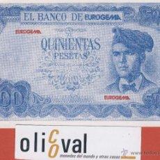 Billetes con errores: BILLETE HUMOR -QUINIETAS PESETAS EUROGEMA -VALENCIA -NUMERADO -. Lote 42887545