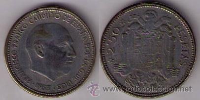 ERROR - MONEDA DE 2,50 PESETAS DE 1953 *54 COMPLETAMENTE BLANCA!!!!!! (Numismática - Notafilia - Variedades y Errores)