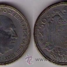 Billetes con errores: ERROR - MONEDA DE 2,50 PESETAS DE 1953 *54 COMPLETAMENTE BLANCA!!!!!!. Lote 43249770