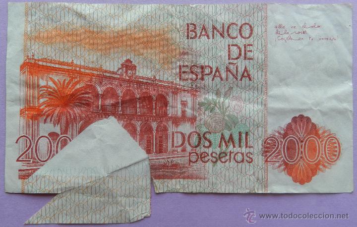 Billetes con errores: BILLETE 2000 PESETAS DEFECTO CORTE - DOS MIL PTAS 22 JULIO 1980 - JUAN RAMON JIMENEZ ERROR - Foto 2 - 44368436