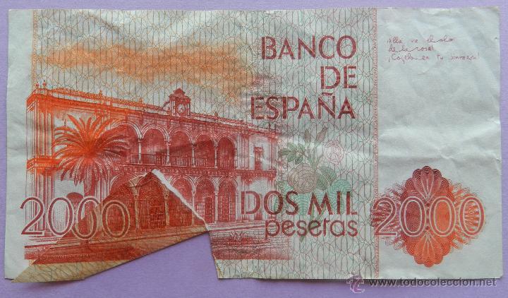 Billetes con errores: BILLETE 2000 PESETAS DEFECTO CORTE - DOS MIL PTAS 22 JULIO 1980 - JUAN RAMON JIMENEZ ERROR - Foto 4 - 44368436