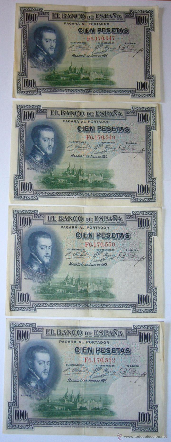 4 BILLETES 100 PESETAS 1925 CON ERROR FIRMA CAJERO, MISMO PLIEGO, 2 CORRELATIVOS. ERROR (Numismática - Notafilia - Variedades y Errores)