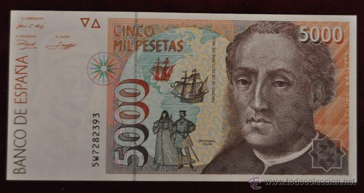 BILLETE BANCO DE ESPAÑA 5000 PESETAS 1992 SERIE 5W (Numismática - Notafilia - Variedades y Errores)