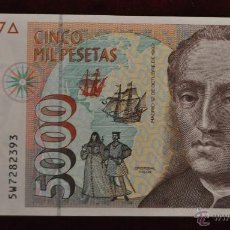 Billetes con errores: BILLETE BANCO DE ESPAÑA 5000 PESETAS 1992 SERIE 5W. Lote 45487349